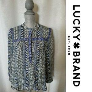 Lucky Brand Beaded Blue Blouse Sz L